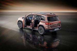 Обои для рабочего стола Mercedes-Benz CUV Коричневая Металлик Двери EQB 350 4MATIC Electric Art Line, Worldwide, (X243), 2021 автомобиль