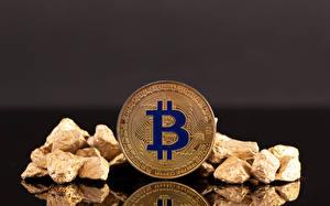 Фотография Деньги Bitcoin Камни Серый фон Фильмы
