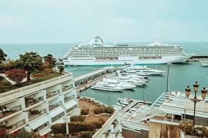 Фотография Монте-Карло Монако Пирсы Яхта Круизный лайнер Уличные фонари город