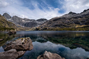 Фотографии Новая Зеландия Горы Камни Озеро Скала Lake Adelaide