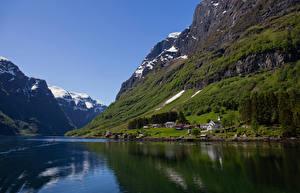 Картинка Норвегия Горы Фьорд Nærøyfjord