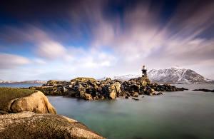 Фотография Норвегия Гора Лофотенские острова Камни Маяки Облака Gravdal Природа