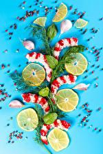 Картинки Морепродукты Креветки Лимоны Чеснок Перец чёрный Укроп Цветной фон