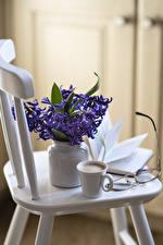 Фото Натюрморт Гиацинты Кофе Капучино Чашка Очков Цветы
