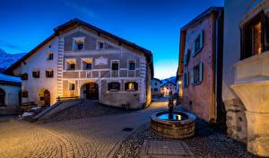 Фотографии Швейцария Здания Фонтаны Вечер Улице Guarda город