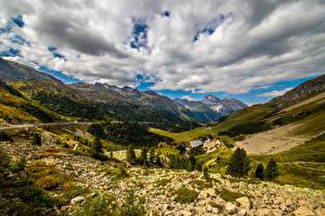 Картинки Швейцария Горы Альпы Облака Долина Albula Pass Природа