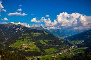 Обои Швейцария Горы Альп Облако Furna Природа