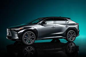Обои Toyota Кроссовер Серый Металлик Сбоку bZ4X Concept, 2021 Автомобили