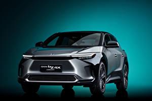Обои для рабочего стола Тойота Кроссовер Серые Металлик Спереди bZ4X Concept, 2021 Автомобили
