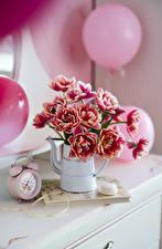Обои Тюльпаны Часы Будильник Боке Ваза Воздушный шарик Цветы