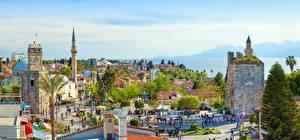 Картинка Турция Панорама Башни Пальмы Antalya город