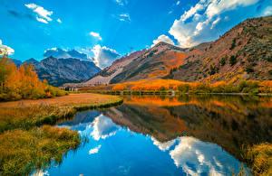 Фотографии США Осень Гора Реки Калифорнии Облако Отражении Природа