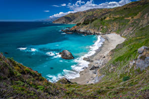 Фото США Берег Океан Калифорния Big Sur Природа