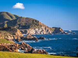 Фото США Побережье Океан Скале Калифорнии Big Sur