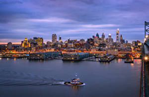 Фото США Вечер Дома Речка Причалы Катера Лучи света Philadelphia Города