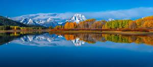 Обои США Парк Горы Осень Озеро Панорама Пейзаж Grand Teton National Park, Wyoming Природа