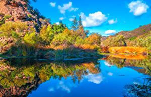 Картинка Америка Парки Горы Озеро Калифорнии Дерево Отражение Malibu Creek State Park Природа