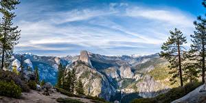 Обои Америка Парки Гора Панорама Пейзаж Йосемити Скале Калифорния