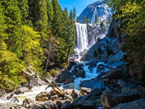 Фото США Парки Водопады Горы Камень Йосемити Калифорния Природа