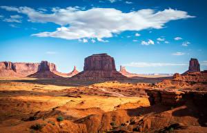 Фото США Пейзаж Скалы Облака Monument Valley, Utah