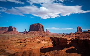 Картинка Штаты Небо Пейзаж Скала Облачно Monument Valley, Utah Природа