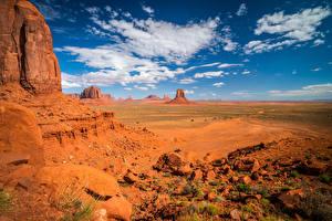 Картинка США Камни Небо Утес Облака Monument Valley, Utah
