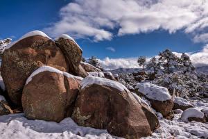 Обои Штаты Зимние Камень Снег Облако Prescott, Arizona