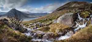 Фотография Великобритания Горы Камень Парк Панорама Уэльс Ручеек Snowdonia Природа