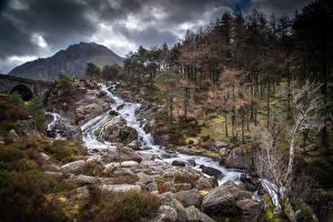 Картинка Великобритания Парки Гора Камни Реки Уэльс Дерева Snowdonia Природа