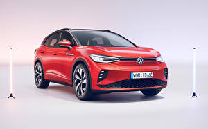 Обои Фольксваген Красная Металлик Кроссовер ID.4 GTX (Worldwide), 2021 Автомобили