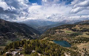 Фотография Андорра Гора Парк Пейзаж Облака Vall del Madriu-Perafita-Claror