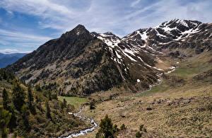 Картинка Андорра Гора Камни Ручеек Природа