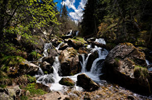 Обои Андорра Гора Камни Ручеек Природа