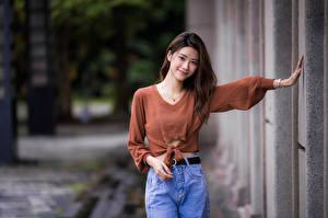 Обои Азиаты Свитера Улыбается Поза Взгляд молодая женщина