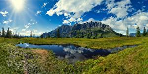 Фотографии Австрия Гора Озеро Луга Пейзаж Альп Federal State Salzburg, Vierrinnenköpfe