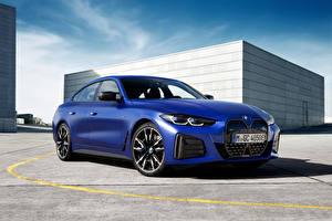 Фотографии BMW Синих Металлик i4 M50, (Worldwide), (G26), 2021 машина