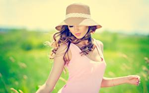 Фото Боке Шатенка Шляпе молодые женщины