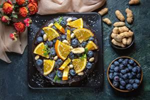 Фото Торты Черника Апельсин Орехи Продукты питания