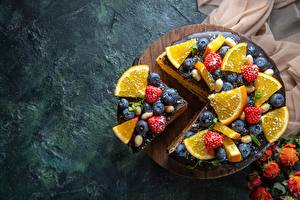 Фото Торты Черника Малина Апельсин Кусочки Еда