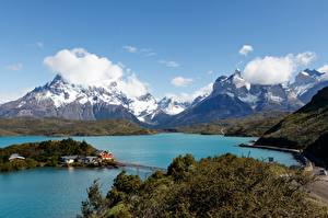 Обои Чили Озеро Горы Парки Облака Torres del Paine National Park