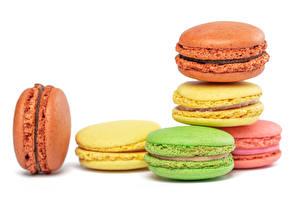 Фотография Вблизи Белый фон Макарон Разноцветные Пища
