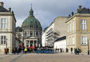 Фотографии Копенгаген Дания Городской площади Купола Amalienborg