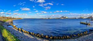 Картинка Дания Копенгаген Пристань Камень Панорама Залива Природа