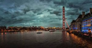 Обои Англия Здания Реки Причалы Вечер Лондон город