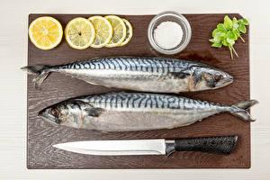 Картинки Рыба Ножик Лимоны 2 Солью Разделочная доска Продукты питания