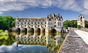 Фото Франция Замок Пруд Chenonceau castle, Loire Castles