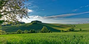 Картинки Франция Поля Небо Холм Montmorin