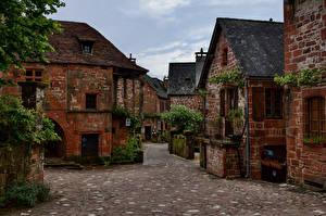 Картинка Франция Дома Улиц Collonges-la-Rouge Города