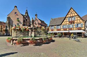 Фото Франция Дома Фонтаны Скульптура Улица Eguisheim