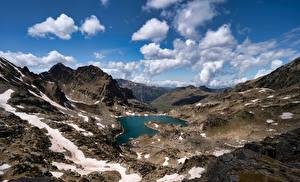 Картинка Франция Горы Озеро Облако Ariège